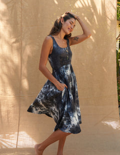 Mona Dress in Indigo