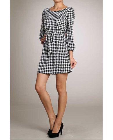Houndstooth Scoop Neck Dress with Red Bow