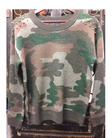 Studded Camo Sweater