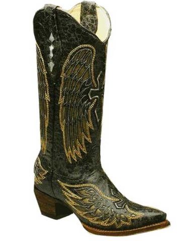 Corral Black/Gold/Silver Angel Wing Boots With Cross