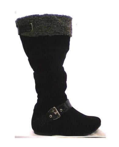 Black with Silver Buckle Winter Boots