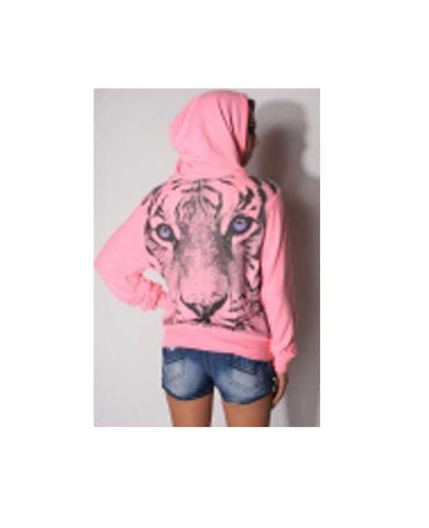 Pink Hoodie with Tiger Back