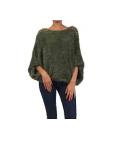 Green Sweater with Gold Studded Shoulders
