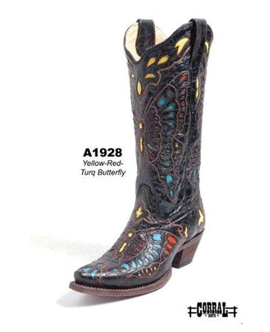 Yellow-Red Turquoise Butterfly Boot