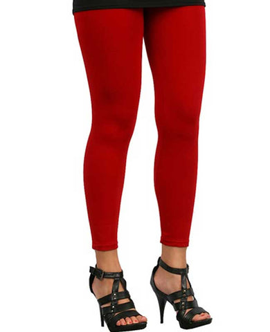 Red Ankle Length Leggings