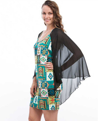 Draped Sleeve Aqua Quilt Plus Size Dress