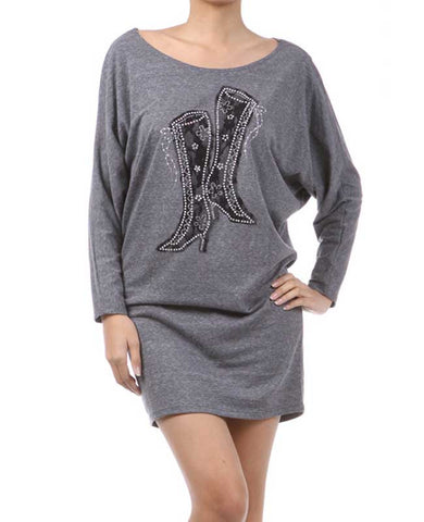 Grey Printed Mini Dress with Rhinestones