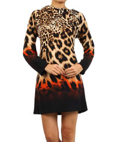 Leopard Print Dress with Orange Accents
