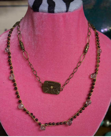 One-of-a-Kind handmade Fluorite, Garnet Necklace