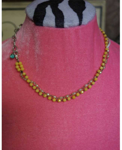 One-of-a-Kind Yellow Jade and turquoise Necklace