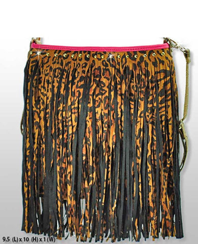 Leopard Frayed Handbag