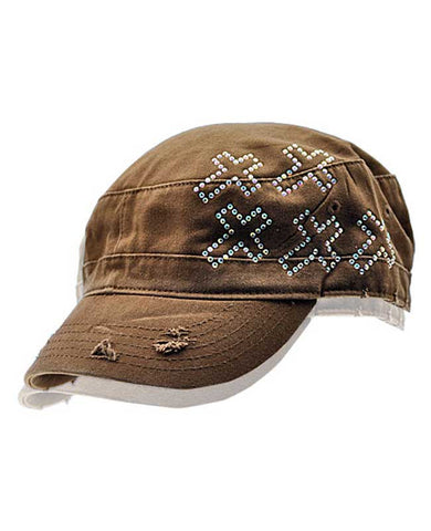Brown Cross Rhinstone Hat