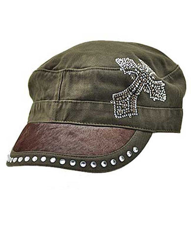 Brown Hide Cross Cap