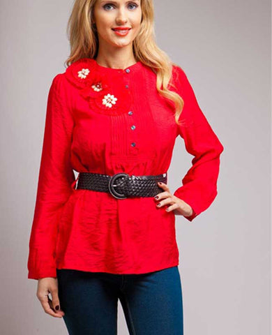 Glass & Acrylic Bead Belted Red Top