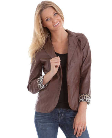 Chocolate Faux Leather Leopard Print Lining Blazer