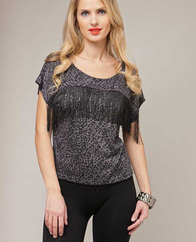 Fringe Trim Black Cheetah Top