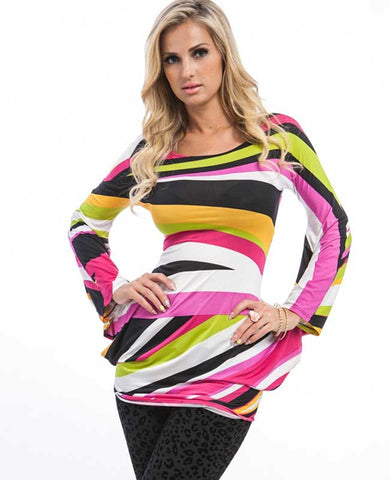 Fuchsia Rainbow Wing Sleeve Tunic