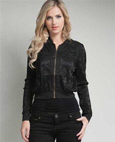Glitzy Black Zip Up Evening Jacket