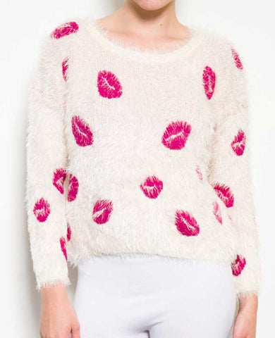 Lips Frayed White Sweater