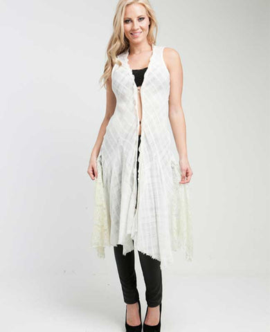 Vintage Lace Ruffled Long Cardigan