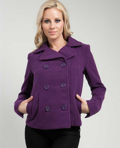 Purple Double Breasted Lined Coat