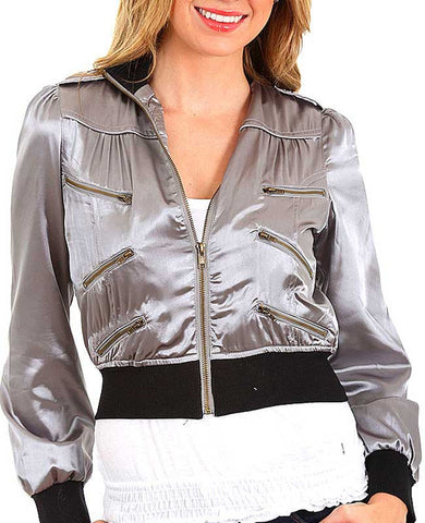 Grey Satiny Crop Long Sleeve Zipper Embellished Bomber Jacket