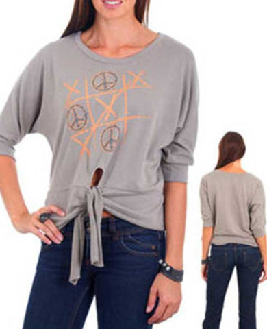 Light Grey Tic, Tac, Toe Key Hole Tie Front Casual Top