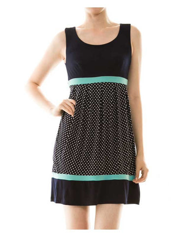Polka Dot Self Belted Sleeveless Dress