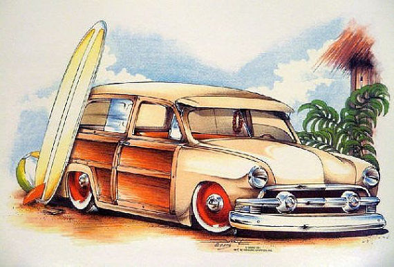 Woody Station Wagon Car and Surf Boards Adult Unisex T Shirt Brent Gill Design POS173