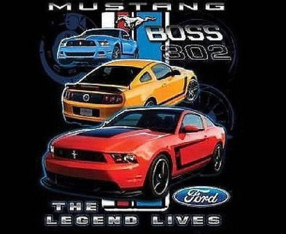 Ford Mustang Boss 302 Mens Short or Long Sleeve T Shirt Lumi Trans 17952D2