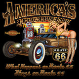 Hot Rod Americas Highway Route 66 Adult Unisex Quality Short or Long Sleeve T Shirt 22505HD1