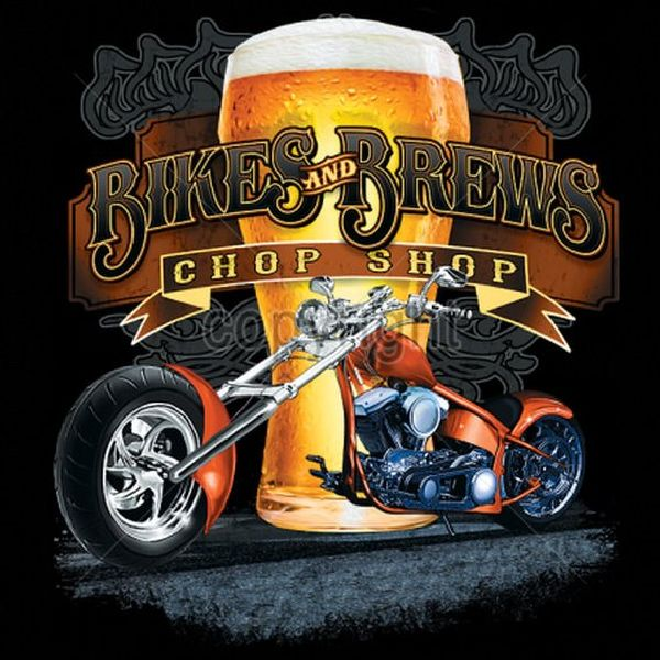 Bikes and Brews Chop Shop Mens Short or Long Sleeve Motorcycle T Shirt 17015