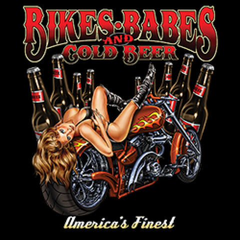 Bikes Babes and Cold Beer Adult Unisex Quality Motorcycle Short or Long Sleeve T Shirt 22656HD1