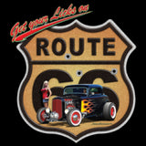 Get Your Licks on Route 66 Hot Rod Car and Girl Adult Unisex Mature Short Sleeve T Shirt 21300HD2