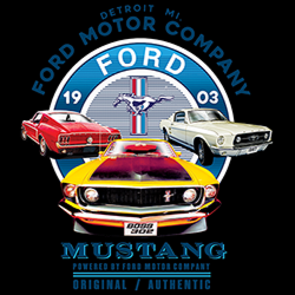 Ford Circle Three Mustang Cars Adult Unisex Quality Short or Long Sleeve T Shirt 22548HD2