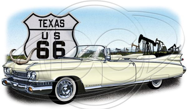 Vintage 1955 1956 Big Three Convertible Car Adult Unisex T Shirt Horns on Hood Route 66 POS458