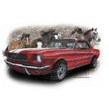 Vintage Early 60s Two Door Red Sedan with Racing Stripes and Mustang Horses Mens T Shirt Brent Gill Design POS500