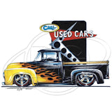 Vintage Customized Black and Yellow Pickup Truck on Used Cars Lot Mens T Shirt Brent Gill Design POS510
