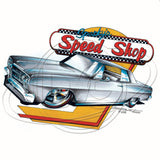 Vintage Sparkys Speed Shop Customized Silver Two Door Car Mens T Shirt Brent Gill Design POS517