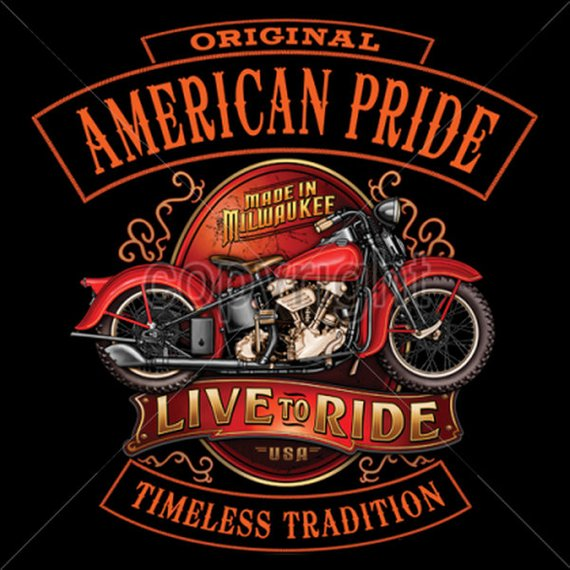 American Pride Live to Ride Mens Short or Long Sleeve Motorcycle T Shirt 13686