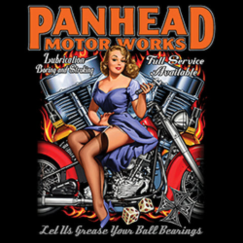 Panhead Motor Works Adult Unisex Quality Motorcycle Short or Long Sleeve T Shirt 22681D1