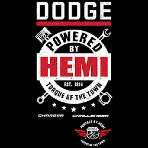 Dodge Powered by Hemi With Crest Adult Unisex Quality Short or Long Sleeve T Shirt 22725ED2