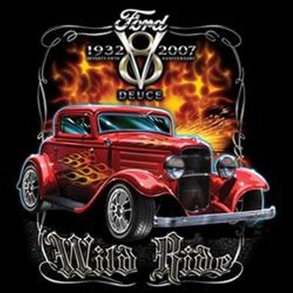 1932 Ford V8 Anniversary Red Coupe Deuce Wild Ride Mens Short or Long Sleeve T Shirt 17947D1