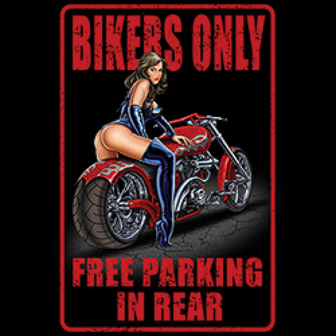 Bikers Only Free Parking in Rear Adult Unisex Quality Motorcycle Short or Long Sleeve T Shirt 22655D2
