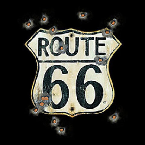 Route 66 Sign With Bullet Holes Mens Quality Short Sleeve or Long Sleeve T Shirt 13663