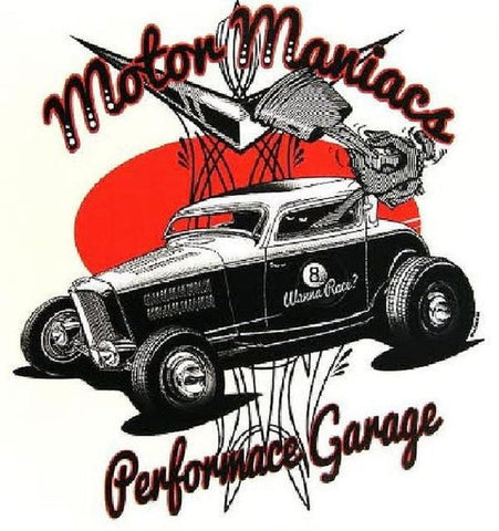 Cartoon Motor Maniacs Performance Garage Mens Short or Long Sleeve T Shirt 17038