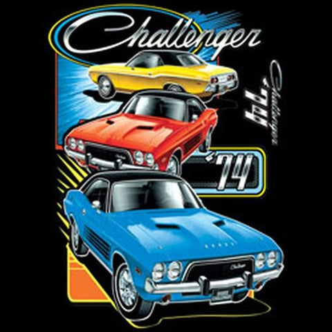 1974 Dodge Challenger Trio Licensed Mens Short or Long Sleeve Car T Shirt 20417HD2