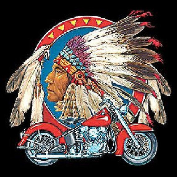 Native American Indian Chief with Motorcycle Mens Short or Long Sleeve T Shirt 5202