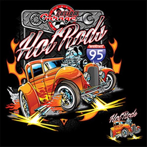 Custom Garage Hot Rod Mens Short or Long Sleeve Car T Shirt 20966D1