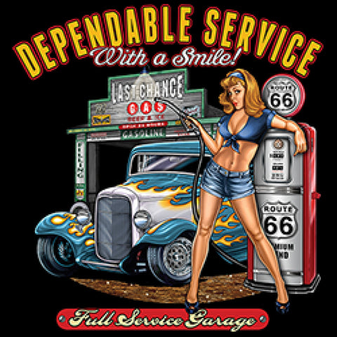 Rt 66 Dependable Hot Rod Girl Adult Unisex Long Sleeve Car T Shirt 19640